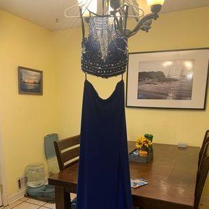 Blue 2 piece formal long dress